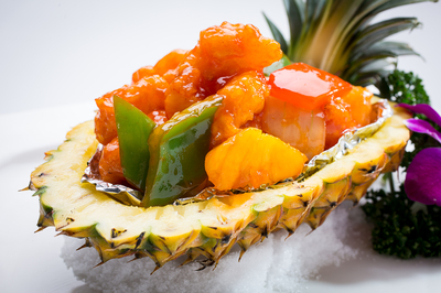 Sweet and Sour Shrimp in Pineapple