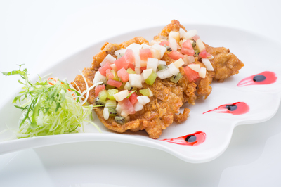 Deep Fried Chicken Thigh Cutlets with Fruit