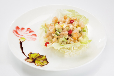 Stir-Fried Diced Guava & Shrimp on Lettuce Wrap